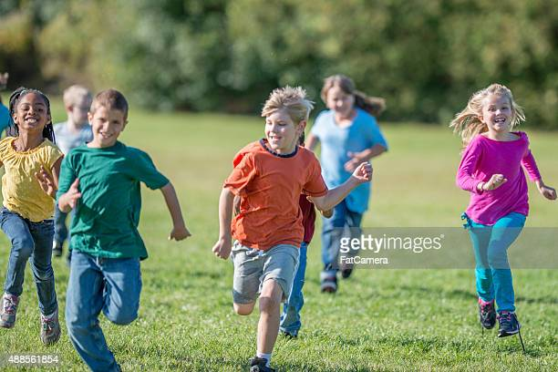 Kids Playing Tag at Recess