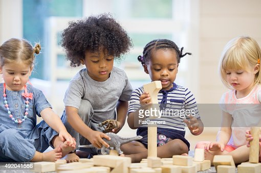 Kids Playing with Building Blocks