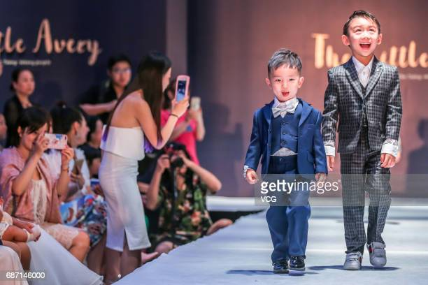 Kids showcase designs on the runway at The Little Avery collection show on May 22 2017 in Chengdu Sichuan Province of China