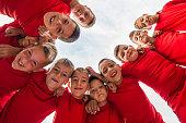 kids soccer team in huddle