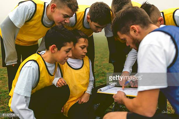 Kids Talking With Coach About Soccer Strategy
