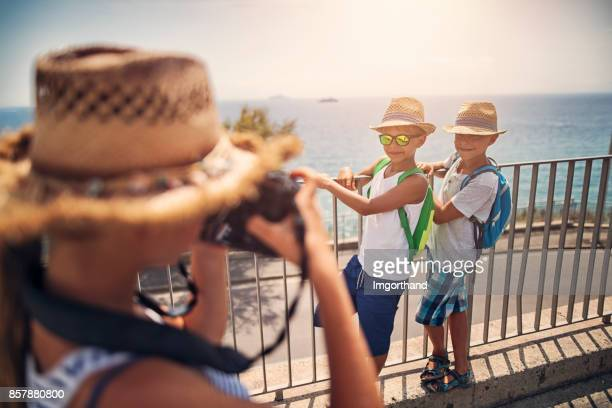 Kids tourists sightseeing italian city of Piombino