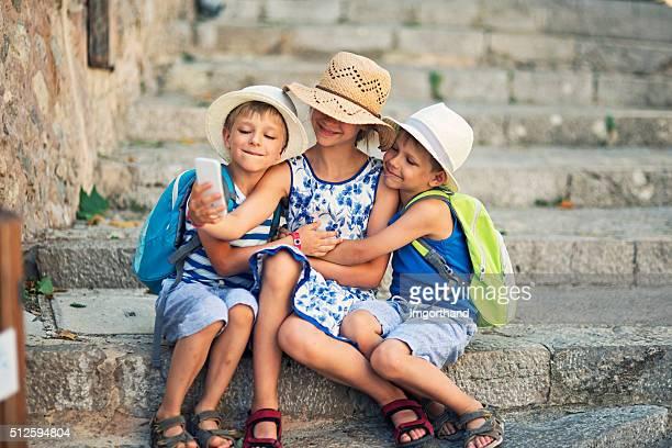 Touristen selfie von Kinder