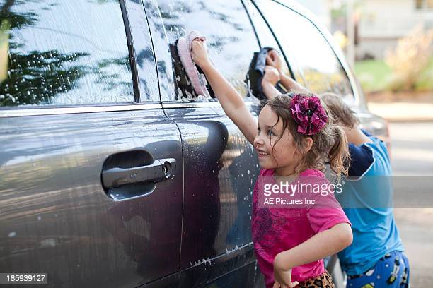 Kids washing the car