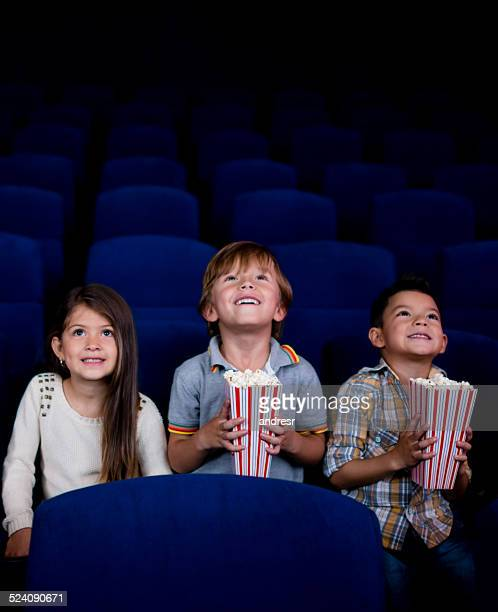 Kids watching a movie