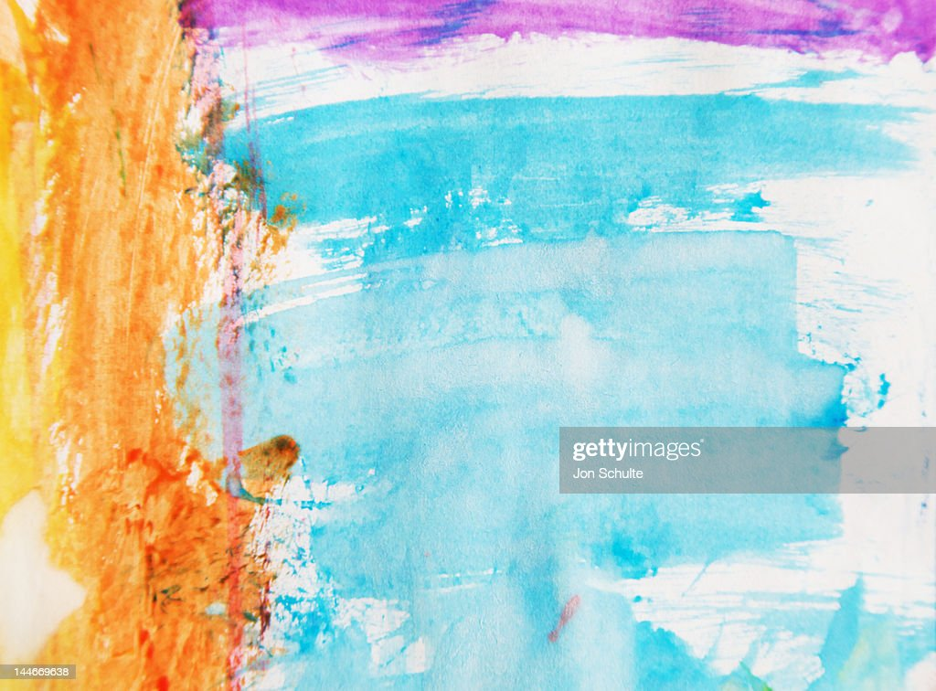 Kid's watercolor painting : Stock Photo