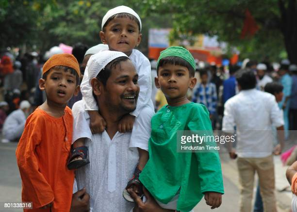 Kids wearing tricolour outfit on the occasion of EidUlFitr at Jama Masjid on June 26 2017 in Chandigarh India The celebrations marked the end of Holy...