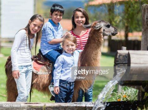 Kids with a llama
