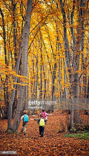 Kids with backpacks running in autumn forest