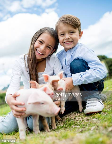 Kids with piglets