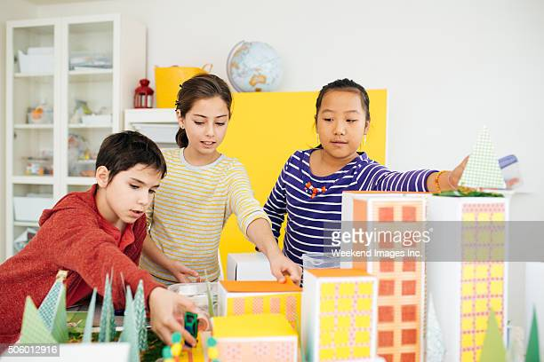 Kids working on a school project
