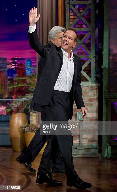 LENO Kiefer Sutherland Air Date Episode 3658 Pictured Actor Kiefer Sutherland leaves after an interview on November 17 2008 Photo by Paul...
