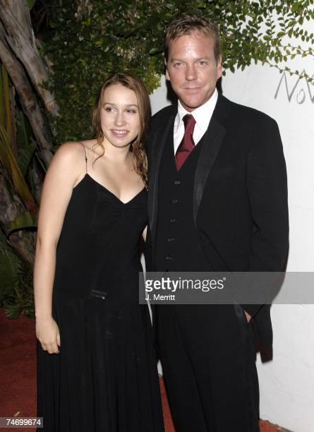 Kiefer Sutherland and daughter Sarah at the 20th Century Fox Emmy After Party At Morton's at Morton's Restaurant in Los Angeles California