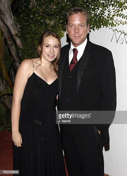 Kiefer Sutherland and daughter Sarah during 20th Century Fox Emmy After Party At Morton's at Morton's Restaurant in Los Angeles California United...