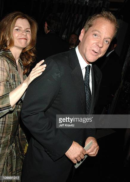 Kiefer Sutherland and guest during 58th Annual Primetime Emmy Awards Backstage at The Shrine Auditorium in Los Angeles California United States
