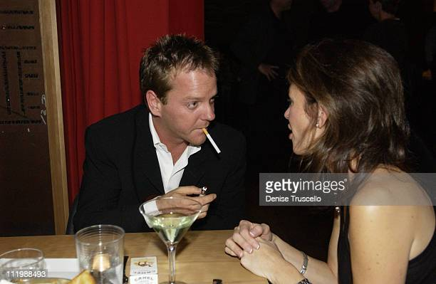 Kiefer Sutherland and Kelly Wynn during Rolling Stones PreParty at Simon's Kitchen and Bar at Simon's Kitchen and Bar at the Hard Rock Hotel in Las...
