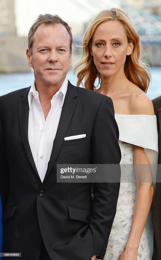 Kiefer Sutherland (L) and Kim Raver attend the UK premiere of '24: Live Another Day' at Old Billingsgate Market on May 6, 2014 in London, England.