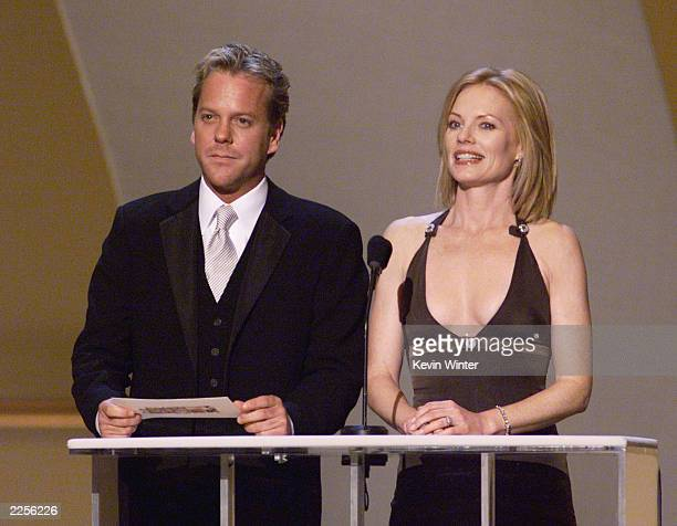 Kiefer Sutherland and Marge Helgenberger present at the 8th Annual Screen Actors Guild Awards held at the Shrine Auditorium in Los Angeles Ca March...