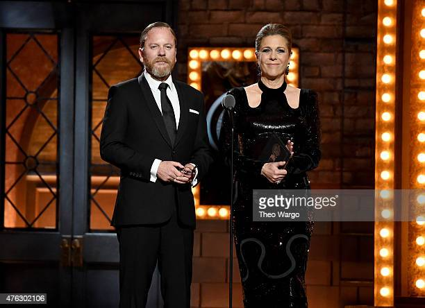 Kiefer Sutherland and Rita Wilson speak onstage during the 2015 Tony Awards at Radio City Music Hall on June 7 2015 in New York City