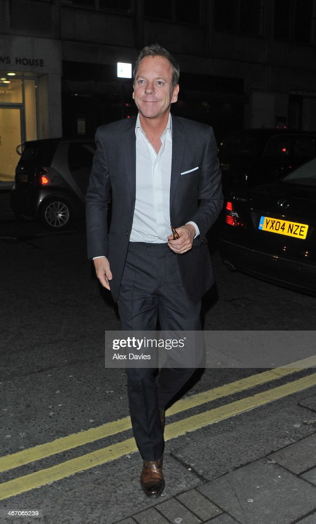<a gi-track='captionPersonalityLinkClicked' href=/galleries/search?phrase=Kiefer+Sutherland&family=editorial&specificpeople=203142 ng-click='$event.stopPropagation()'>Kiefer Sutherland</a> arriving at Little House Restaurant in Mayfair after filming at the itv studios on the Jonathan Ross Show on February 5, 2014 in London, England.