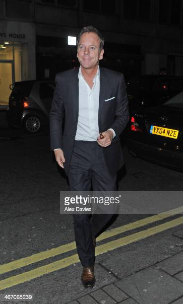 Kiefer Sutherland arriving at Little House Restaurant in Mayfair after filming at the itv studios on the Jonathan Ross Show on February 5 2014 in...