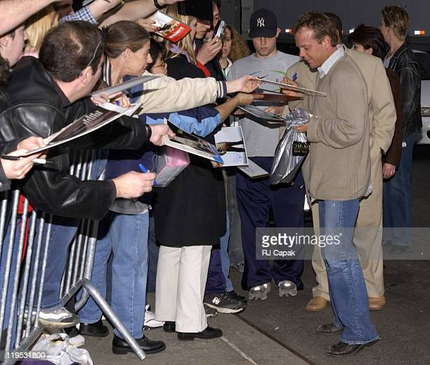 Kiefer Sutherland during Kiefer Sutherland Visits the 'Late Show with David Letterman' March 18 2003 at Late Show with David Letterman in New York...
