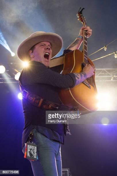 Kiefer Sutherland performs on Avalon Stage on day 4 of the Glastonbury Festival 2017 at Worthy Farm Pilton on June 25 2017 in Glastonbury England