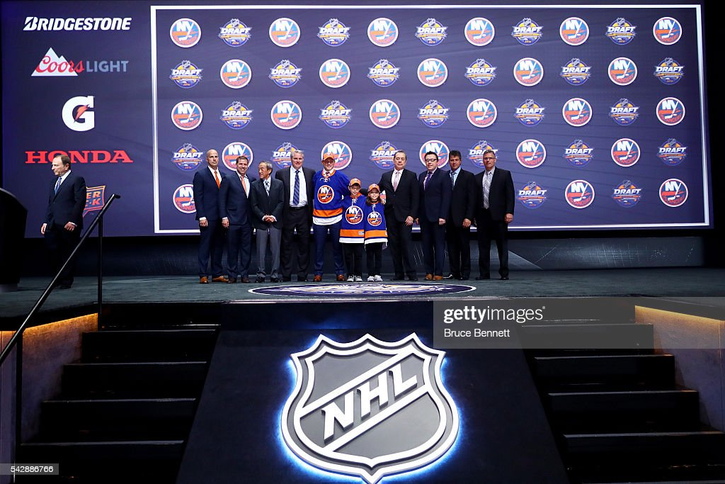 Kieffer Bellows celebrates with the New York Islanders after being selected 19th during round one of the 2016 NHL Draft on June 24, 2016 in Buffalo, New York.