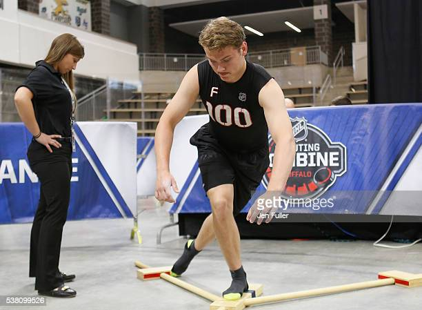 Kieffer Bellows does the Ybalance test during the NHL Combine at HarborCenter on June 4 2016 in Buffalo New York