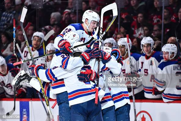 Kieffer Bellows of Team United States celebrates a second period goal with teammates during the 2017 IIHF World Junior Championship gold medal game...