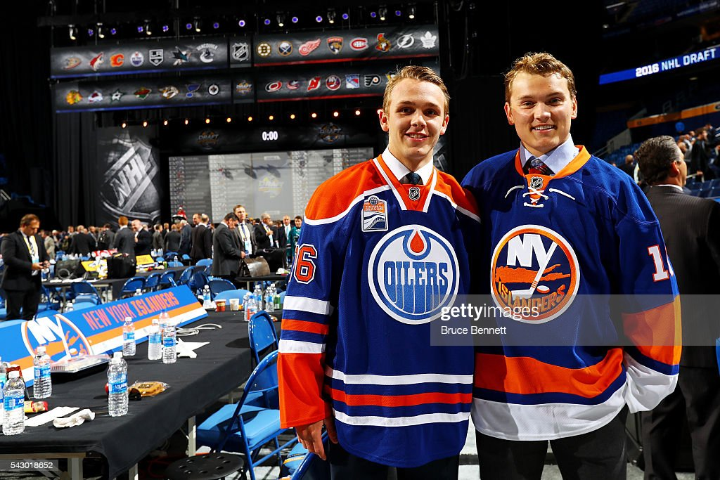 Kieffer Bellows, selected 19th by the New York Islanders and Graham McPhee, selected 149th by the Edmonton Oilers, pose during the 2016 NHL Draft on June 25, 2016 in Buffalo, New York.