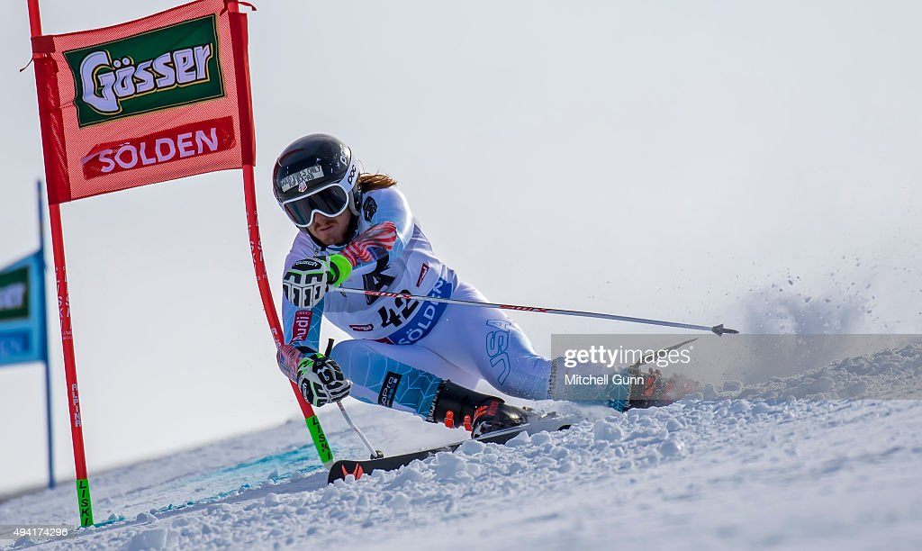 Kieffer Christianson of The USA during the Audi FIS Ski World Cup men's giant slalom race on the Rettenbach Glacier on 25 October 2015 in Soelden...