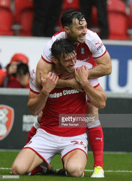 Kieffer Moore of Rotherham United celebrates with team mate Richie Towell after scoring his sides goal during the Sky Bet League One match between...