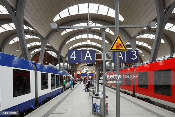 Kiel main station station building station concourse platform trains