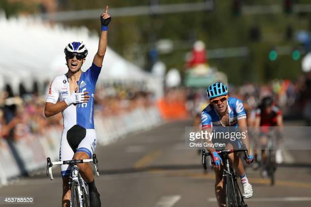 Kiel Reijnen of the United States riding for UnitedHealthcare Pro Cycling wins the stage over Alex Howes of the United States riding for Garmin Sharp...