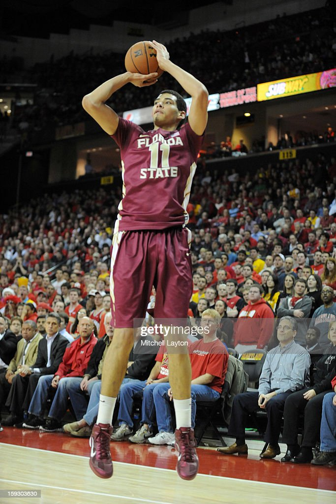 Kiel Turpin #11 of the Florida State Seminoles takes a jump shot during a college basketball game against the Maryland Terrapins on January 9, 2013 at the Comcast Center in College Park, Maryland. The Seminoles won 65-61.