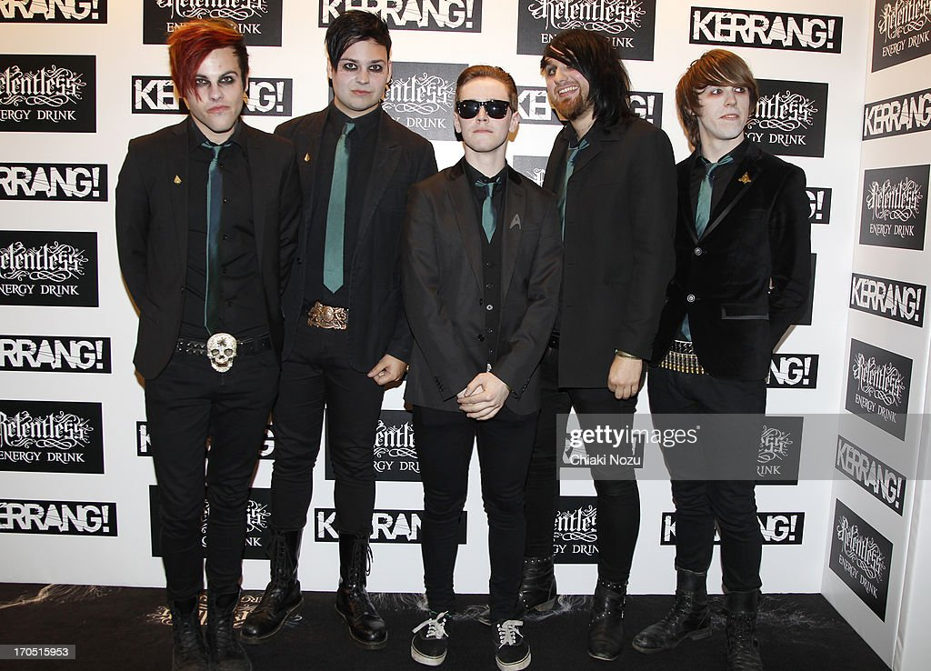 Kier Kemp, Laurence Beveridge, Cyrus Barrone, Luke Illingworth and Drew Woolnough of Fearless Vampire Killers attend The Kerrang! Awards at the Troxy on June 13, 2013 in London, England.