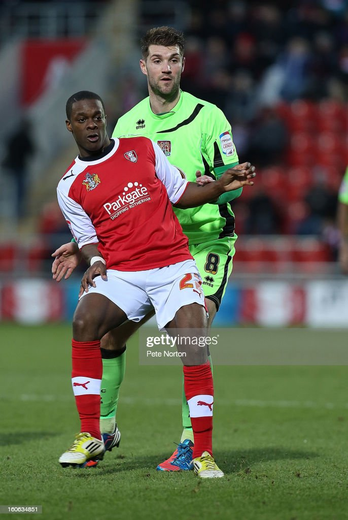 Kieran Agard of Rotherham United and Ben Harding of Northampton Town in action during the npower League Two match between Rotherham United and Northampton Town at New York Stadium on February 2, 2013 in Rotherham, England.