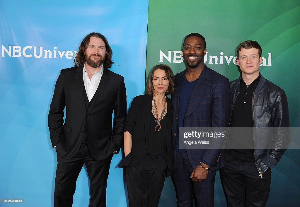 Kieran Bew, Joanne Whalley, David Ajala and Ed Speleers arrive at the 2016 Winter TCA Tour - NBCUniversal Press Tour Day 2 at Langham Hotel on January 14, 2016 in Pasadena, California.