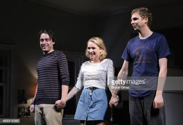 Kieran Culkin Tavi Gevinson and Michael Cera take their The Opening Night Curtain Call for 'This Is Our Youth' on Broadway at The Cort Theatre on...