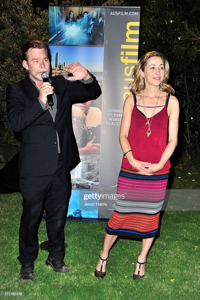 Kieran Darcy-Smith and wife Felicity attend the Australian Reception at Parker Palm Springs on June 22, 2013 in Palm Springs, California.