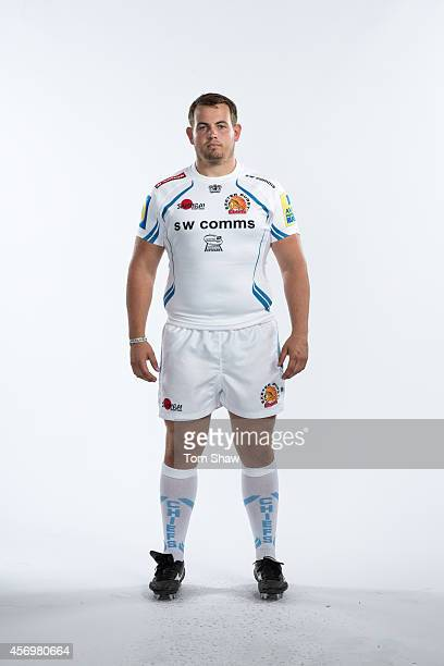 Kieran Davies of Exeter Chiefs poses for a picture during the BT Photo Shoot at Sandy Park on August 26 2014 in Exeter England