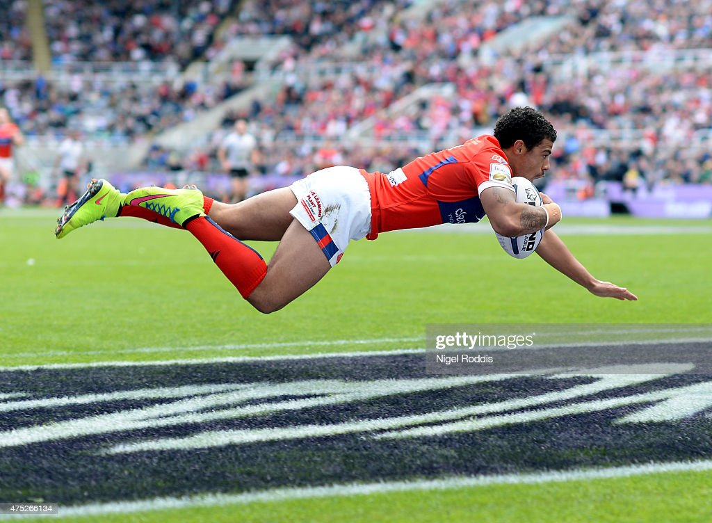 Kieran Dixon of Hull Kingston Rovers scores a try during the Super League match between Hull Kingston Rovers and Hull FC at St James' Park on May 30...