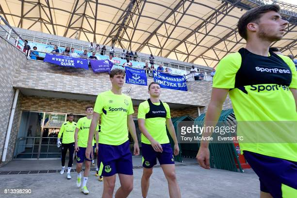 Kieran Dowell and Matthew Pennington of Everton during the Everton training session in DarEsSalaam on July 12 2017 in Tanzania