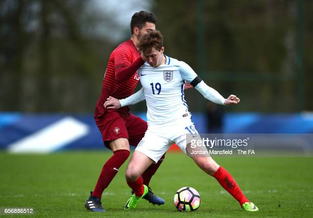 Kieran Dowell of England in action during the UEFA U20 International Friendly match between England and Portugal at Stade de Chateau Bily on March 23...