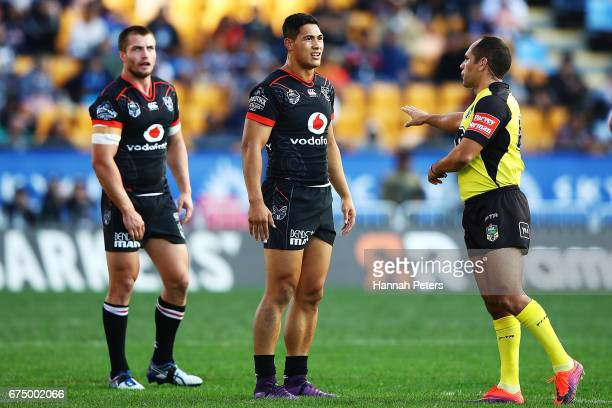 Kieran Foran and Roger TuivasaSheck of the Warriors complain to the referee during the round nine NRL match between the New Zealand Warriors and the...