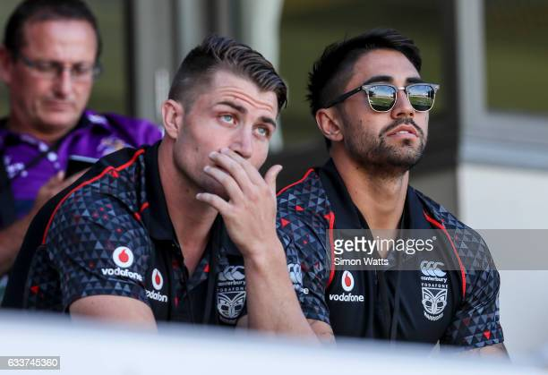 Kieran Foran and Shaun Johnson of the Warriors look on during the 2017 Auckland Nines match between the New Zealand Warriors and the Parramatta Eels...