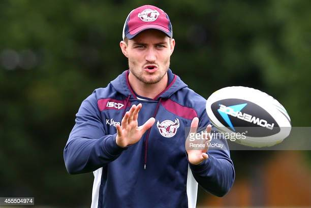 Kieran Foran catches the ball during a Manly Sea Eagles NRL training session on September 16 2014 in Sydney Australia