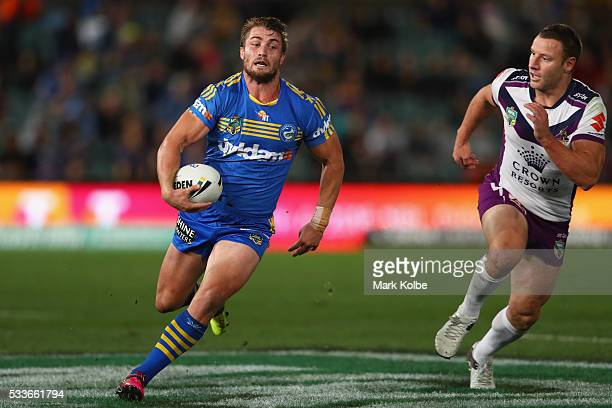 Kieran Foran of the Eels makes a break during the round 11 NRL match between the Parramatta Eels and the Melbourne Storm at Pirtek Stadium on May 23...