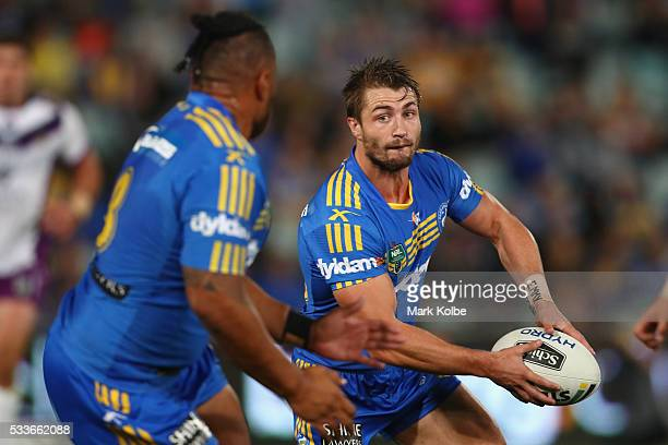 Kieran Foran of the Eels passes during the round 11 NRL match between the Parramatta Eels and the Melbourne Storm at Pirtek Stadium on May 23 2016 in...